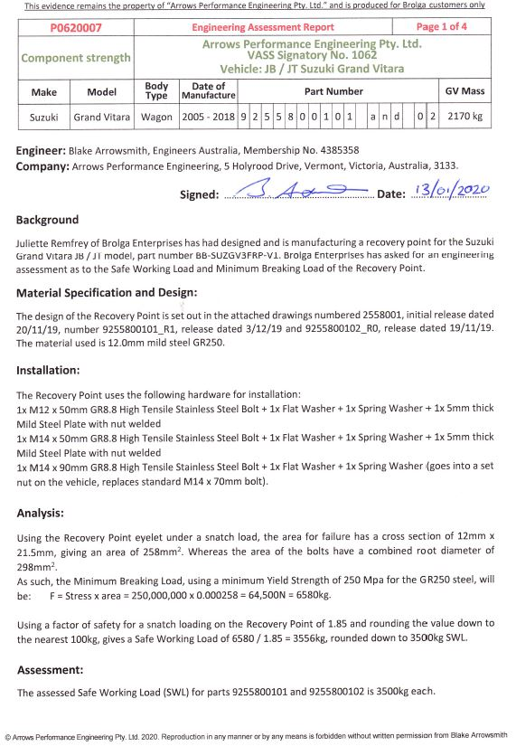 Engineering Assessment Report for BB-SUZGV3FRP-V1-SET